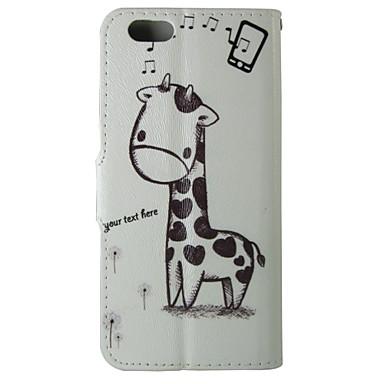 padrão dos desenhos animados girafa capinha pu aleta de couro com fecho magnético e ranhura para cartão de iPhone 5 / 5s
