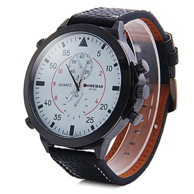 Masculino Relógio de Pulso Quartzo Couro Banda Preta Branco Preto Vermelho Azul