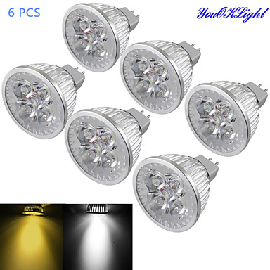 YouOKLight 6pcs 4 W 320-350 lm GU5.3 (MR16) LED-spotlampen MR16 4 LED-kralen Krachtige LED Dimbaar / Decoratief Warm wit / Koel wit 12 V / 6 stuks / RoHs