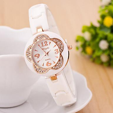 Dames Modieus horloge Gesimuleerd Diamant Horloge Kwarts imitatie Diamond Leer Band Bloem Zwart Wit Wit Zwart