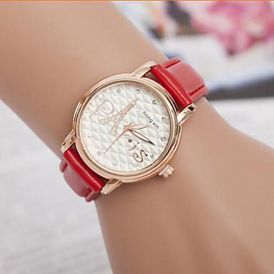 Mulheres Relógio de Moda Bracele Relógio Simulado Diamante Relógio Quartzo imitação de diamante Couro BandaPreta Branco Vermelho Verde