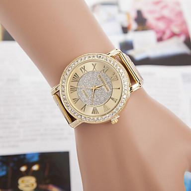 Heren Dames Voor Stel Modieus horloge Gesimuleerd Diamant Horloge Kwarts imitatie Diamond Legering Band Goud Goud