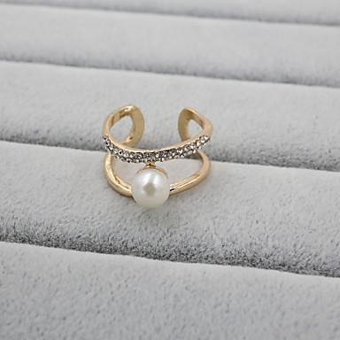 여성용 밴드 링 - 펄, 라인석, 모조 다이아몬드 사치, 열린 조절가능 제품 결혼식 파티 일상 / 합금