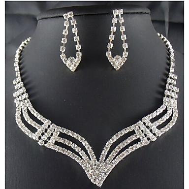 Conjunto de Jóias Moda imitação de diamante Forma Geométrica Branco Para Festa Ocasião Especial Aniversário Presentes de casamento