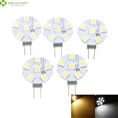SENCART 5pcs 1.5W 3000-3500/6000-6500lm G4 Spot LED MR11 6 Perles LED SMD 5050 Intensité Réglable Blanc Chaud / Blanc Naturel 12V / RoHs
