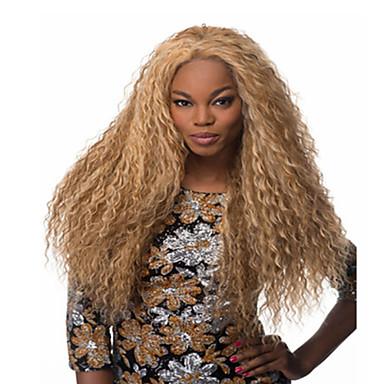 Συνθετικά μαλλιά Περούκες Σγουρά Χωρίς κάλυμμα Καρναβάλι περούκα Απόκριες Περούκα Μακρύ Ξανθό