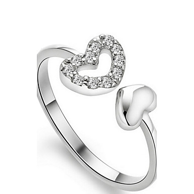 Γυναικεία Band Ring Ασημί Ασήμι Στερλίνας Καρδιά Προσαρμόσιμη Γάμου Πάρτι Καθημερινά Causal Κοστούμια Κοσμήματα