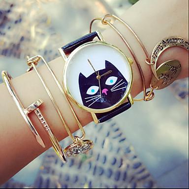Mulheres Relógio de Moda Bracele Relógio Quartzo PU Banda Branco Preto Bege Vermelho Azul Claro
