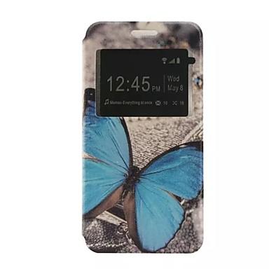 hoesje Voor Samsung Galaxy Samsung Galaxy hoesje met standaard met venster Flip Patroon Volledig hoesje Vlinder PU-nahka voor J5 J2 J1