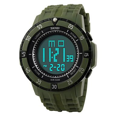 Masculino Relógio Esportivo Relógio de Pulso Digital LED Calendário Cronógrafo Impermeável alarme Relógio Esportivo PU Banda PretaBranco