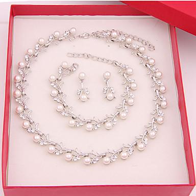 저렴한 쥬얼리 세트-여성용 보석 세트 숙녀 귀걸이 보석류 펄 화이트 제품 결혼식 파티 특별한 때 기념일 생일 약혼 / 선물 / 일상 / 목걸이