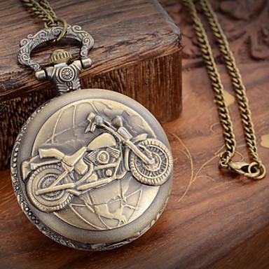 Homens Relógio de Bolso Quartzo Relógio Casual Metal Banda Amuleto Bronze