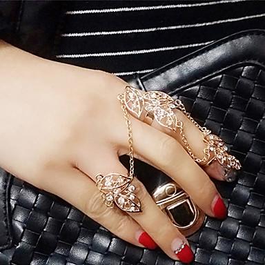 Anéis Meio Dedo imitação de diamante Liga Moda Prata Dourado Jóias Casamento Festa Diário Casual 1peça