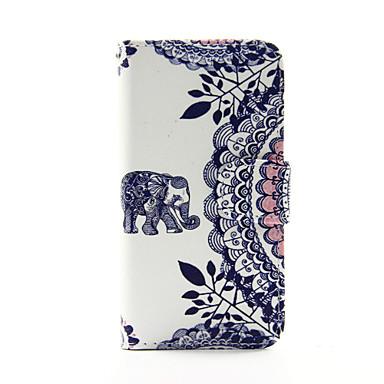 olifant en cirkel bloem pu lederen portemonnee full body case voor de ipod touch 5/6