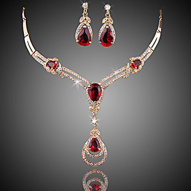 Jewelry Sets Women 039 S Red Crystal Synthetic Ruby Set Zircon