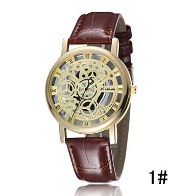 Недорогие Часы на кожаном ремешке-Муж. Часы со скелетом Наручные часы Кварцевый Кожа Черный / Коричневый 30 m Защита от влаги Светящийся Аналоговый 2 # 3 # 4 #