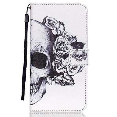 Para Samsung Galaxy Capinhas Carteira / Porta-Cartão / Com Suporte / Flip Capinha Corpo Inteiro Capinha Caveira Couro PU SamsungS6 edge