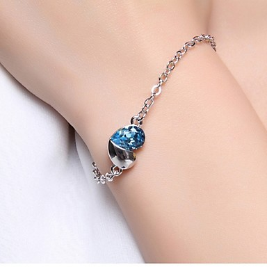 Damen Ketten- & Glieder-Armbänder - Sterling Silber Herz, Liebe Einzigartiges Design Armbänder Purpur / Blau / Rosa Für Hochzeit Party Alltag