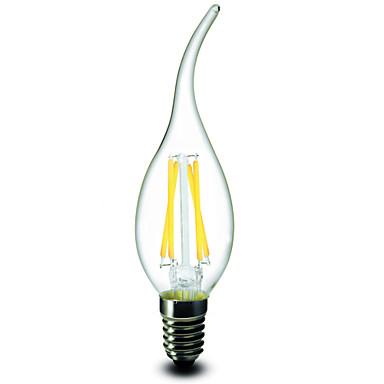 1pc 2.5W 200-250 lm E14 Ampoules Bougies LED CA35 4 diodes électroluminescentes COB Intensité Réglable Blanc Chaud AC 220-240V