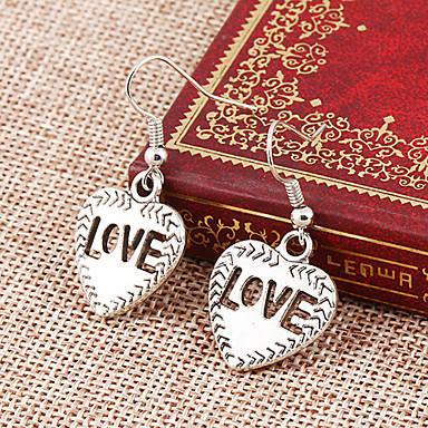 Brincos Compridos Coração Liga Formato de Coração Prata Jóias Para Festa Diário 1peça
