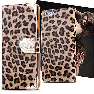 leopardo selvagem estojo de couro pu tampa fresca aleta bling do ranhura para cartão de diamante para iphone 5 / 5s (cores sortidas)
