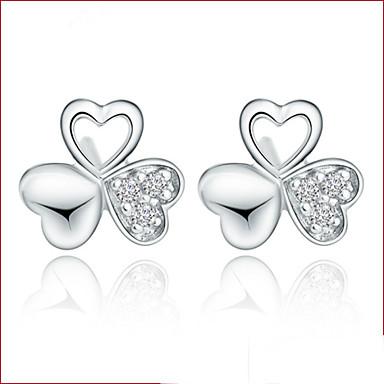 Brincos Curtos Cristal Estilo bonito Prata de Lei Cristal Prata Jóias Para Casamento Festa Diário 2pçs