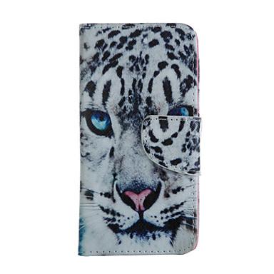 branco padrão de cabeça de leopardo caso de corpo inteiro com slot para cartão para o iphone 6 Plus / 6s mais
