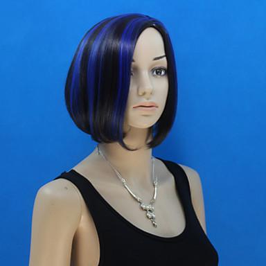 Europa en de Verenigde Staten nieuwe ms zwarte polyester blauw geverfd bobo hoofd pruik