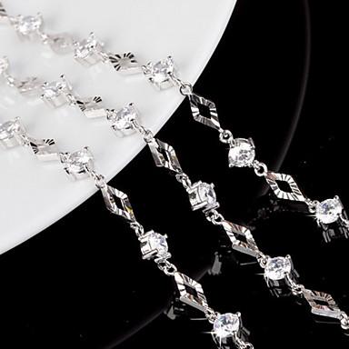 Mulheres Cristal Pulseiras em Correntes e Ligações / Pulseiras com Pendentes - Prata de Lei Pulseiras Branco Para Casamento / Festa / Diário