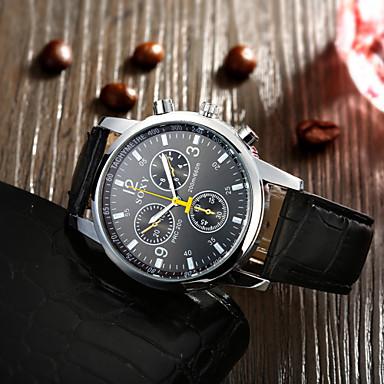 Masculino Relógio de Pulso Quartzo Relógio Casual Couro Banda Preta Branco Preto