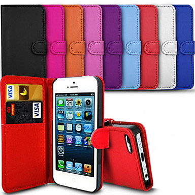 Case For iPhone 5 iPhone 5 Case Card Holder Wallet with Stand Flip Full Body Cases Solid Color Hard PU Leather for iPhone SE / 5s iPhone 5