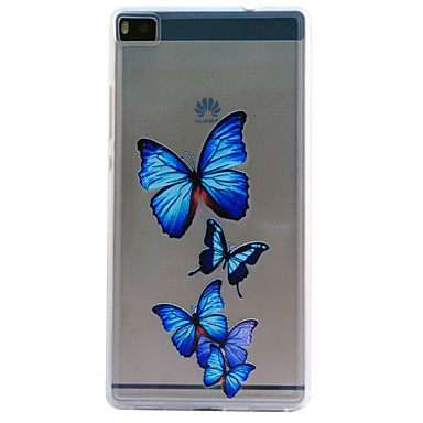 Voor Huawei hoesje / P8 / P8 Lite Reliëfopdruk hoesje Achterkantje hoesje Vlinder Zacht TPU Huawei Huawei P8 / Huawei P8 Lite