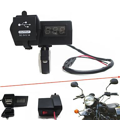 12v-24v waterdichte motorfiets auto dual usb-oplader met led digitale voltmeter handbar mount