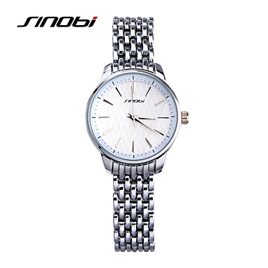 SINOBI Mulheres Relógio de Moda Quartzo Impermeável Lega Banda Prata Prata