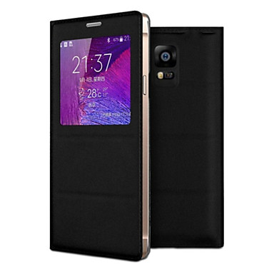tok Για Samsung Galaxy Samsung Galaxy Note με παράθυρο Ανοιγόμενη Πλήρης Θήκη Συμπαγές Χρώμα PU δέρμα για Note 4