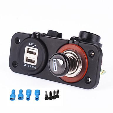 iztoss 12-24V tomada de ficha isqueiro Carregador Dual USB porta de alimentação de cigarro para a motocicleta barco rv carro