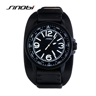 رخيصةأون ساعات الرجال-SINOBI رجالي ساعة رياضية ساعة المعصم كوارتز جلد أسود 30 m مقاوم للماء ساعة رياضية مماثل كلاسيكي - أسود