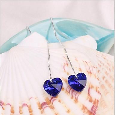 Mulheres Brincos Compridos Amor Coração Cristal Liga Coração Jóias Casamento Festa Diário Casual Jóias de fantasia