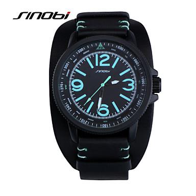 SINOBI Masculino Relógio Esportivo Relógio de Pulso Quartzo Impermeável Relógio Esportivo Couro Banda Preta Preto