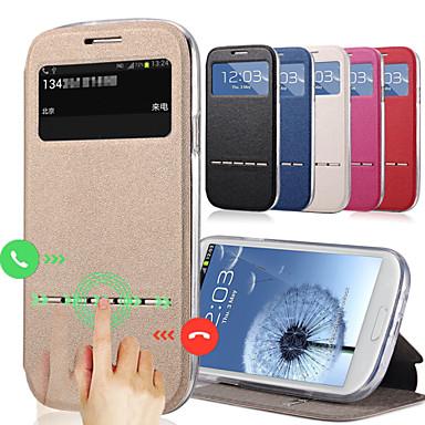 voordelige Galaxy J-serie hoesjes / covers-hoesje Voor Samsung Galaxy J7 / J5 Kaarthouder / met standaard / met venster Volledig hoesje Effen PU-nahka