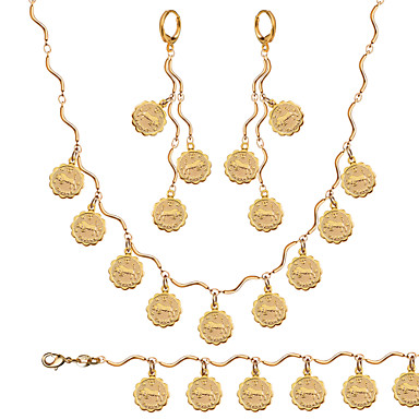 Conjunto de Jóias Vintage Fofo Festa Trabalho Casual Corrente Chapeado Dourado Bracelete Colar Anél