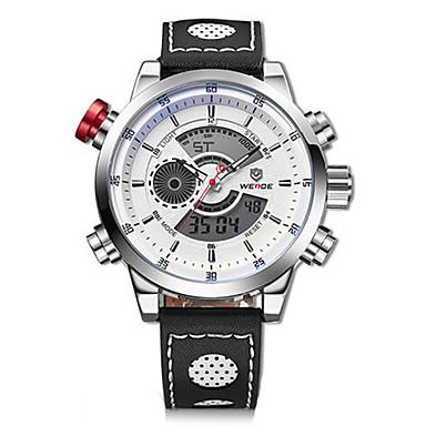 billige Herreure-WEIDE Herre Armbåndsur Digital Watch Quartz Digital Læder Sort 30 m Vandafvisende Alarm Kalender Analog-digital Vedhæng - Sølv / Sort Hvid / Sølv / Rustfrit stål / Kronograf / LCD