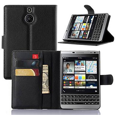Capinha Para Blackberry Capinhas BlackBerry Porta-Cartão Com Suporte Flip Capa Proteção Completa Côr Sólida Rígida PU Leather para
