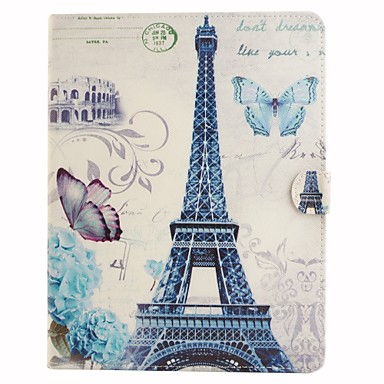 Capinha Para iPad 4/3/2 Porta-Cartão Com Suporte Capa Proteção Completa Torre Eiffel PU Leather para iPad 4/3/2