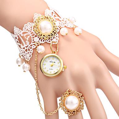 Mulheres Quartzo Bracele Relógio Relógio Casual Lega Banda Com Pérolas Fashion Branco