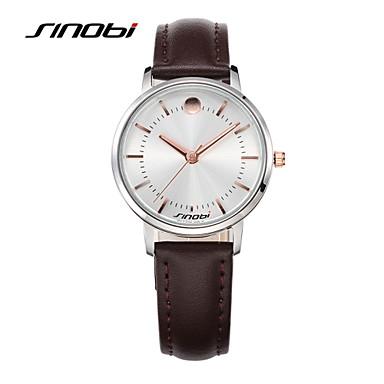 SINOBI Mulheres Relógio de Moda Relógio Casual Quartzo Impermeável Couro Banda Minimalista Marrom