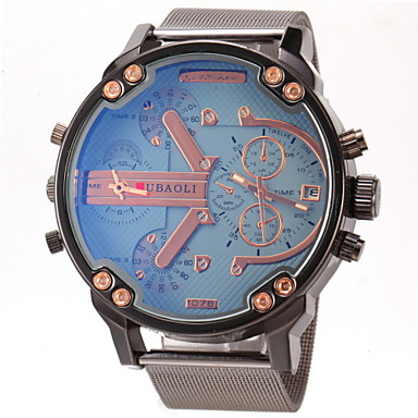 Χαμηλού Κόστους Ανδρικά ρολόγια-JUBAOLI Ανδρικά Στρατιωτικό Ρολόι Ρολόι Καρπού Χαλαζίας Ανοξείδωτο Ατσάλι Μαύρο Διπλές Ζώνες Ώρας Καθημερινό Ρολόι Αναλογικό Φυλαχτό - Σκούρο μπλε Κίτρινο Μπλε Απαλό