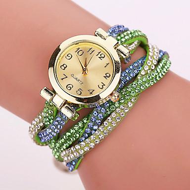 Xu™ Dames Modieus horloge Armbandhorloge Kwarts Vrijetijdshorloge imitatie Diamond PU Band Bloem Mat zwart Bohémien Zwart Wit Blauw Rood