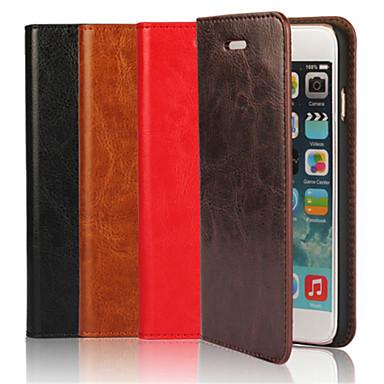 Capinha Para Apple iPhone 6 iPhone 6 Plus Porta-Cartão Com Suporte Flip Capa Proteção Completa Côr Sólida Rígida couro legítimo para