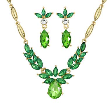 Elegante conjunto de jóias de casamento de strass colorido clássico estilo feminino clássico